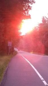 red sun in morning